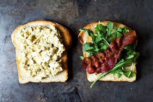 "<strong>Get the <a href=""http://food52.com/recipes/12681-bacon-and-egg-salad-sandwich-with-dukkah-and-peppery-greens"" target="