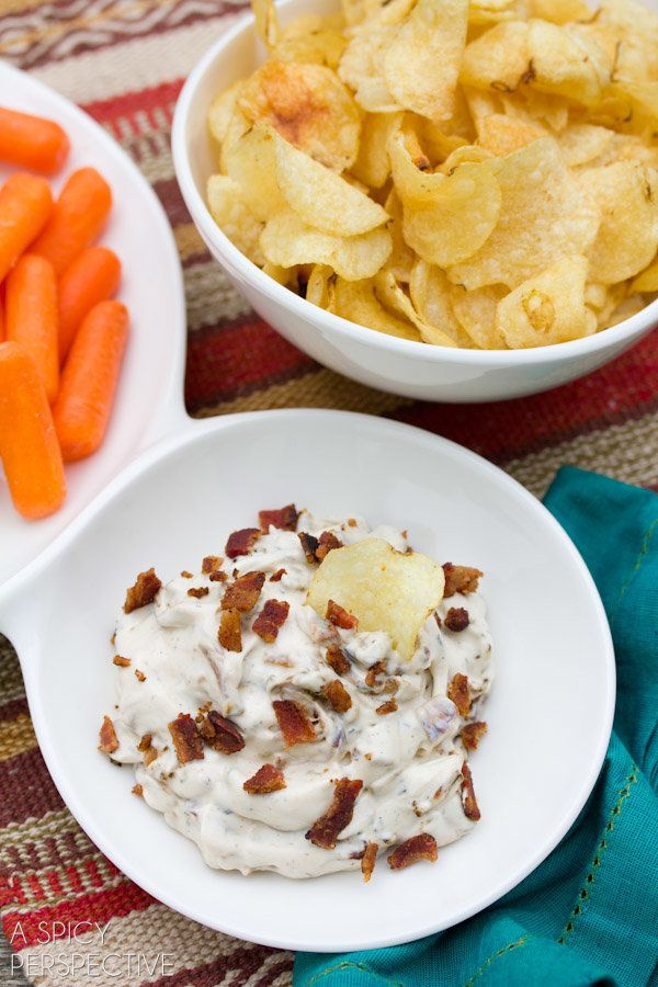 "<strong>Get the <a href=""http://www.aspicyperspective.com/2013/01/onion-dip.html"" target=""_blank"">Onion & Bacon Dip recipe</a"