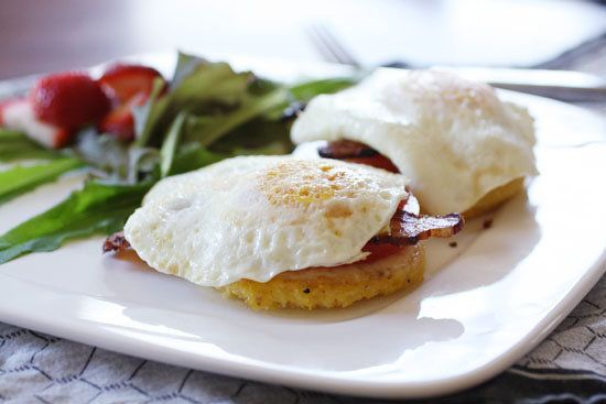 "<strong>Get the <a href=""http://www.macheesmo.com/2011/06/polenta-stack/"" target=""_blank"">Polenta Stack recipe</a> by Machees"