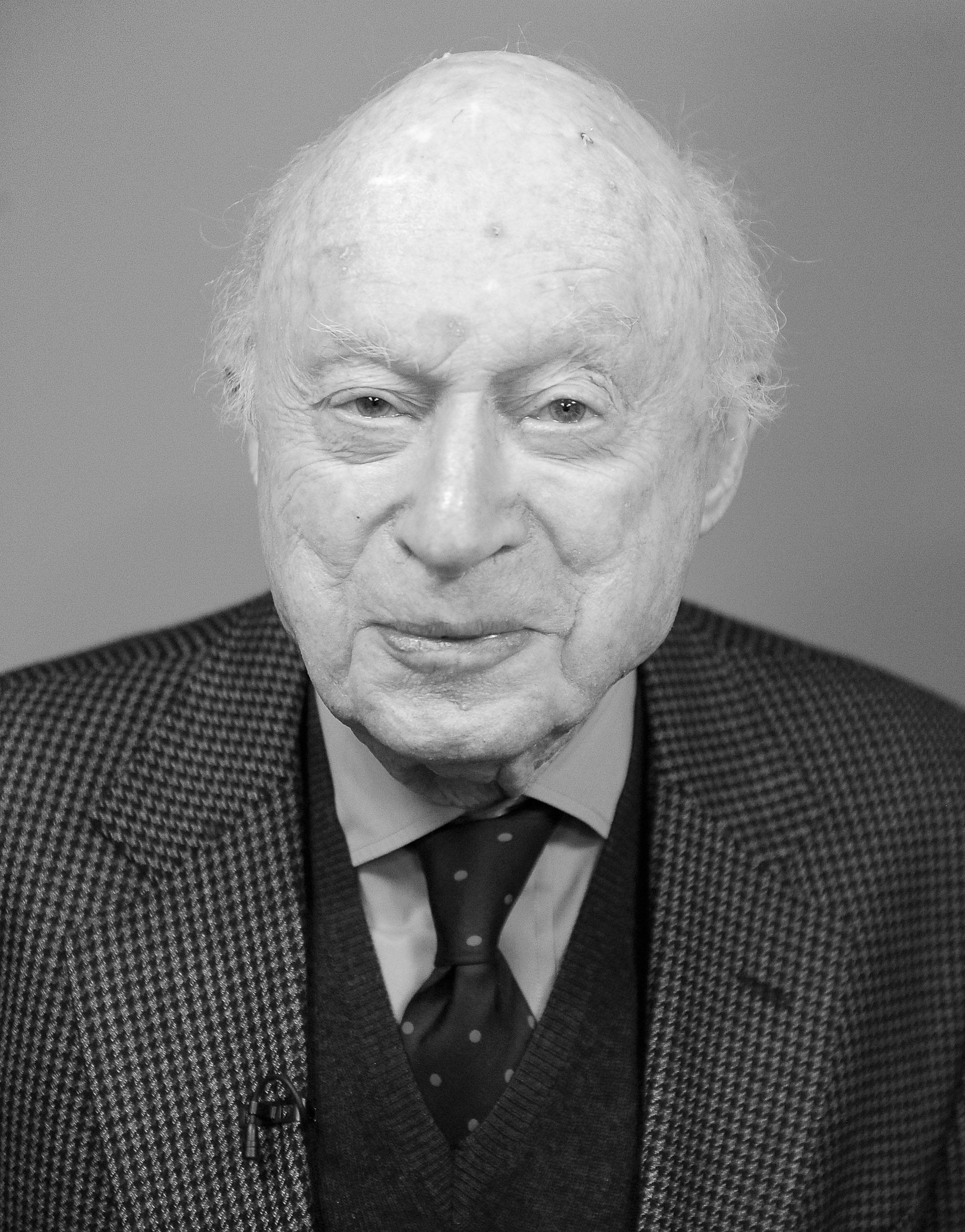 LOS ANGELES, CA - JANUARY 06:  (EDITORS NOTE: Image has been converted to black and white.)  Actor Norman Lloyd attends his Career Reflection and Q&A at SAG Foundation Actors Center on January 6, 2015 in Los Angeles, California.  (Photo by Angela Weiss/Getty Images for SAG Foundation)