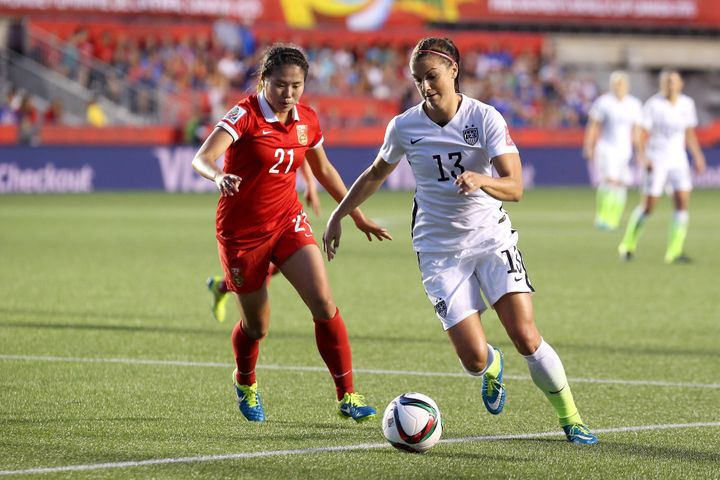 Morgan during the U.S.'s match against China in the 2015 FIFA's Women's World Cup quarterfinal match.