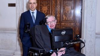 LONDON, ENGLAND - JULY 20:  DST Global Founder Yuri Milner and Theoretical Physicist Stephen Hawking ahead of a press conference on the Breakthrough Life in the Universe Initiatives, hosted by Yuri Milner and Stephen Hawking, at The Royal Society on July 20, 2015 in London, England.  (Photo by Stuart C. Wilson/Getty Images for Breakthrough Initiatives)