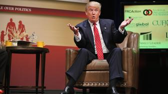 AMES, IA - JULY 18:  Republican presidential hopeful businessman Donald Trump fields questions at The Family Leadership Summit at Stephens Auditorium on July 18, 2015 in Ames, Iowa. According to the organizers the purpose of The Family Leadership Summit is to inspire, motivate, and educate conservatives.  (Photo by Scott Olson/Getty Images)