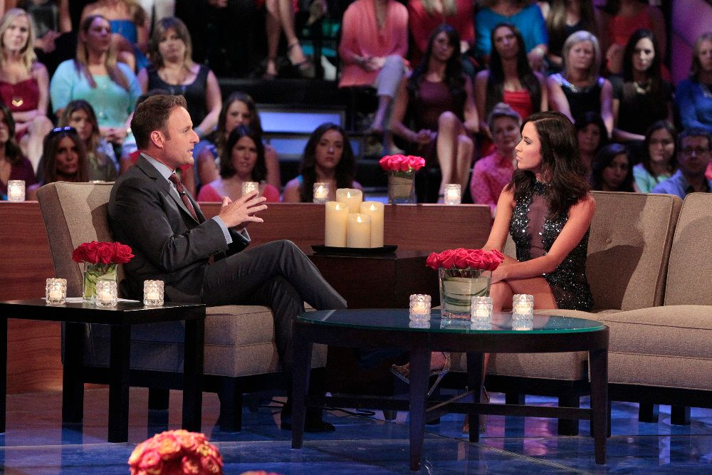 """THE BACHELORETTE - """"The Bachelorette: The Men Tell All"""" - It's an exciting, unpredictable reunion viewers won't want to miss as the most memorable bachelors from this season - including Ben H., Ben Z., Chris """"Cupcake,"""" Ian and Jared -- return to confront each other and Kaitlyn one last time on national television to dish the dirt and tell their side of the story, on """"The Bachelorette: The Men Tell All,"""" MONDAY, JULY 20 (8:00-10:01 p.m., ET), on the ABC Television Network. (ABC/Rick Rowell)CHRIS HARRISON, KAITLYN BRISTOWE"""