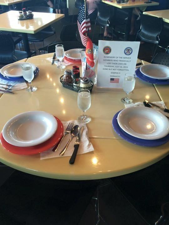 <span>The table that was set aside for the shooting victims at the Mellow Mushroom Hamilton Place location.</span>