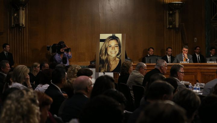 An image of Kate Steinle, a 32-year-old woman who was fatally shot earlier this month, was shown at Tuesday's hearing.