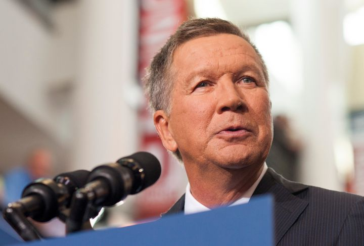 COLUMBUS, OHIO - JULY 21:     Ohio Governor John Kasich gives his speech announcing his 2016 Presidential candidacy at the Oh