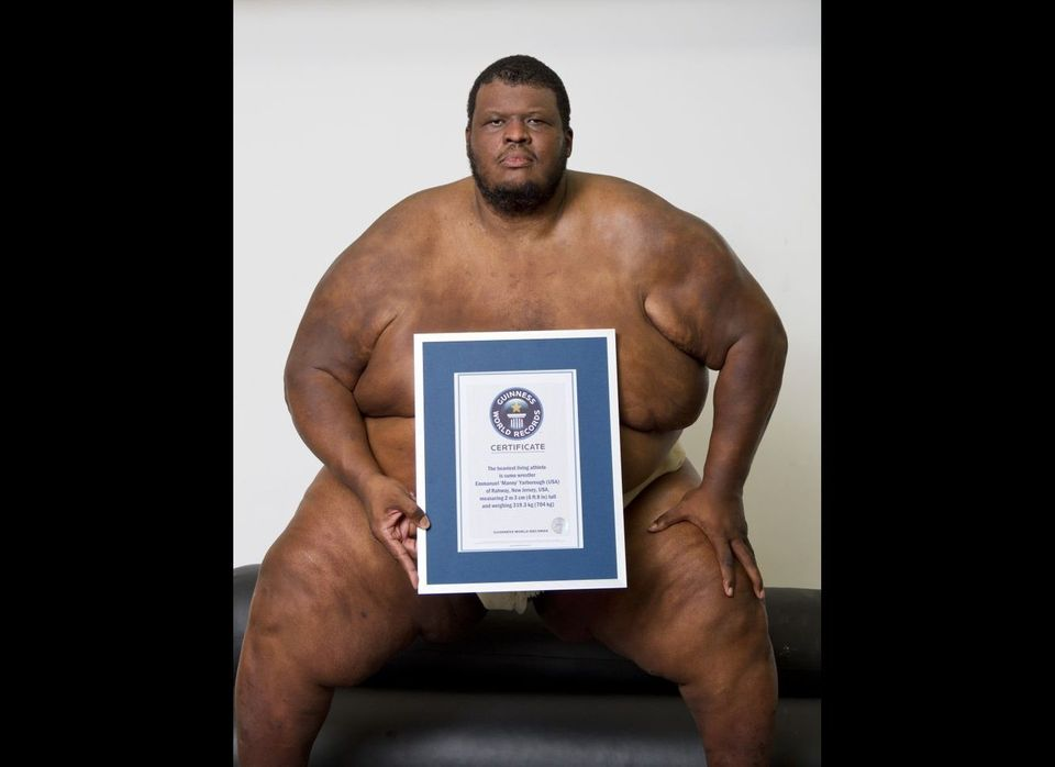 The heaviest living athlete in the world is sumo wrestler Emmanuel 'Manny' Yarborough, of Rahway, New Jersey. He stands 6ft 8
