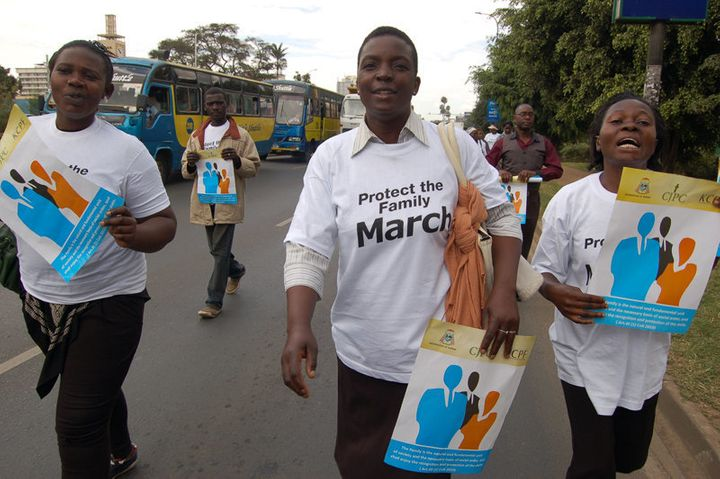 Demonstrators marched against homosexuality along Nairobi's Uhuru Highway on July 6, 2015. They chanted in support of the fam