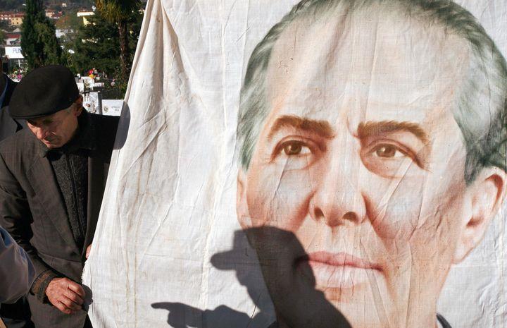 A portrait of former Albanian leader Enver Hoxha.