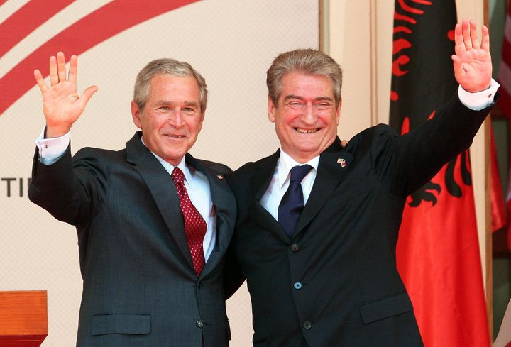 <span>Former U.S. President George W. Bush with Albanian Prime Minister Sali Berisha on&nbsp;June 10, 2007, in the courtyard