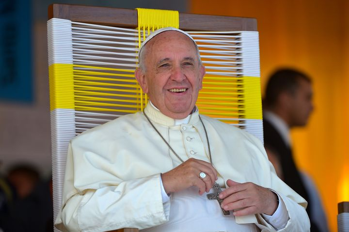 Pope Francis smiles during a visit to the people of Banado Norte at the Chapel of Juan Bautista in Asuncion on July 12, 2015.