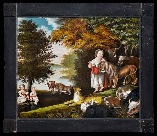 <span>Edward Hicks (1780&nbsp;to&nbsp;1849) The Peaceable Kingdom, Oil on canvas, painted in original wood frame Collection A