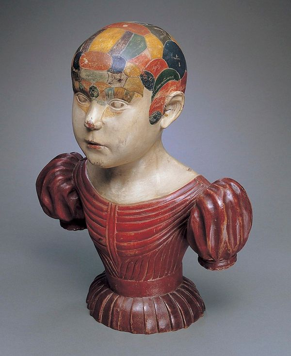 """Asa Ames (1823 to €""""1851) Phrenological Head, ca. 1850 Paint on wood Collection American Folk Art Museum, New York Bequest of"""