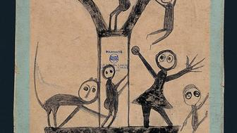 Bill Traylor (c. 1854–1949) Untitled (Figures and Construction with Blue Border, c. 1941 Poster paint and pencil on cardboard Collection American Folk Art Museum, New York Gift of Charles and Eugenia Shannon, 1991.34.1 Photo by John Parnell, New York