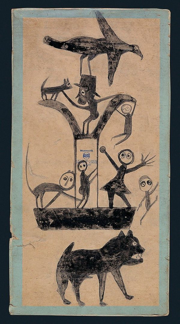 Bill Traylor (c. 1854to1949) Untitled (Figures and Construction with Blue Border, c. 1941 Poster paint and pencil