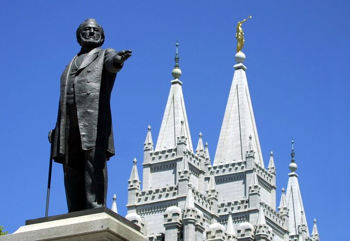 A statue of Brigham Young outside of the Salt Lake City Temple.