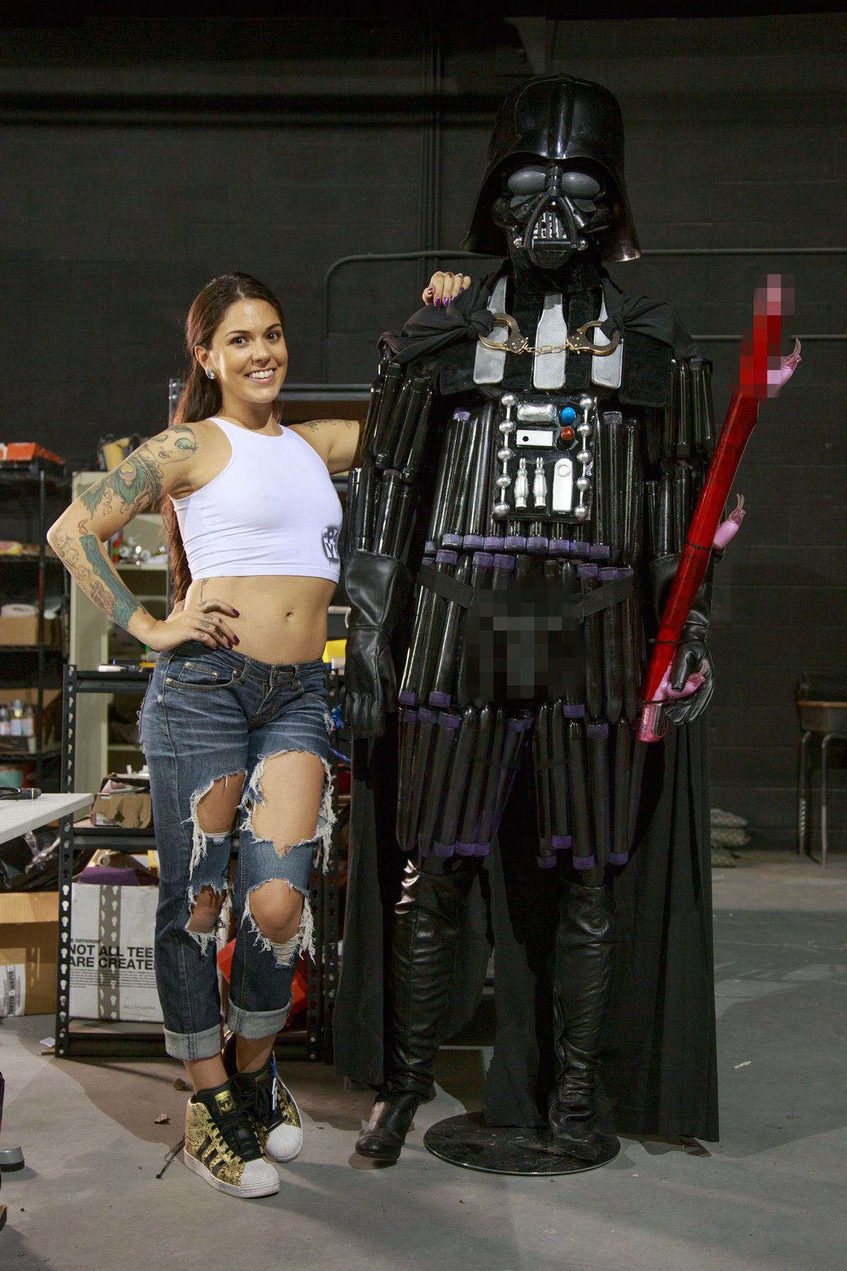 Porn actress Kayla-Jane Danger, 29, built a 7-foot-tall Darth Vader statue out of sex toys.