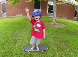 3-Year-Old Mini Skateboarder Is Thrilled When He Nails His First Trick