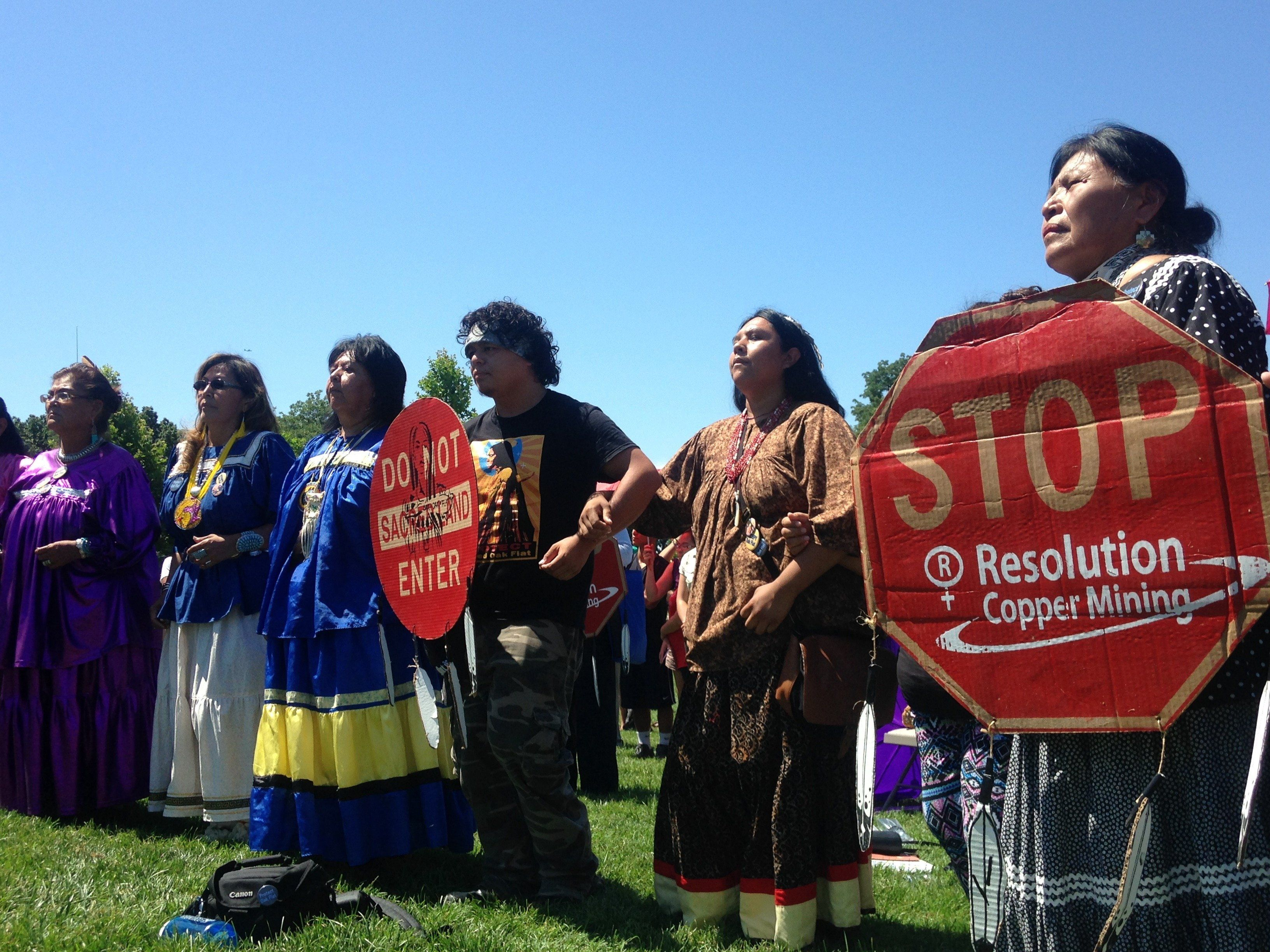 Protestors at Apache Stronghold Rally in Washington, D.C. on July 22, 2015.