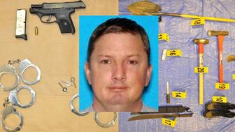 An undated photo of Neal Falls and the items police say they found in his vehicle.