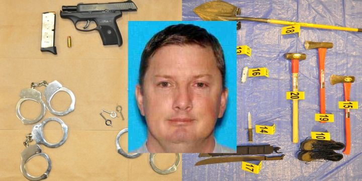 Neal Falls, with an array of items police found in his vehicle after he was shot to death by an escort who grabbed his pistol