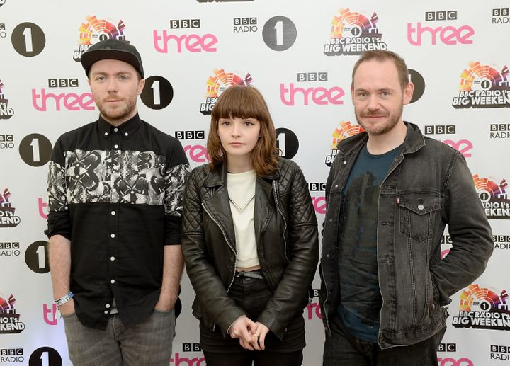 <span>Martin Doherty, Lauren Mayberry and Iain Cook attend Radio 1's Big Weekend at Glasgow Green on May 25, 2014 in Glasgow,