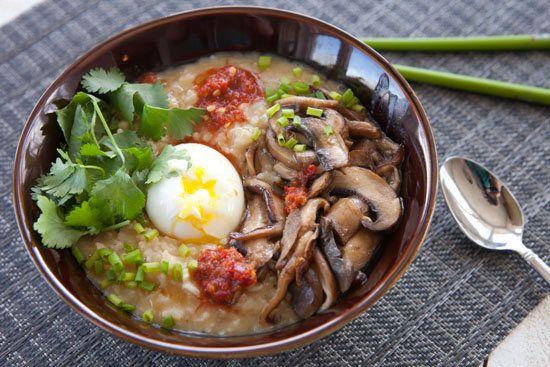 "<strong>Get the <a href=""http://www.macheesmo.com/2013/04/vegetarian-rice-congee/"" target=""_blank"">Vegetarian Rice Congee rec"