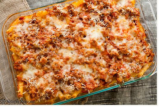 """<strong>Get the <a href=""""http://www.simplyrecipes.com/recipes/baked_ziti/"""" target=""""_blank"""">Baked Ziti recipe from Simply Reci"""
