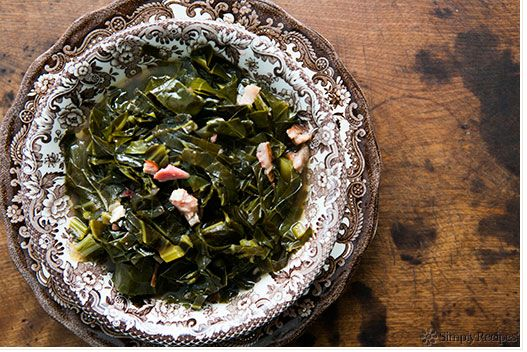 """<strong>Get the <a href=""""http://www.simplyrecipes.com/recipes/southern_style_collard_greens/"""" target=""""_blank"""">Southern Style"""