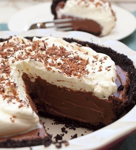 """<strong>Get the <a href=""""http://www.onceuponachef.com/2011/06/chocolate-cream-pie-.html"""">Chocolate Cream Pie recipe from Once"""