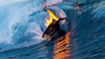 Jamie O'Brien set himself on fire and went surfing.