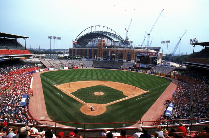 Milwaukee County Stadium, with an under-construction Miller Park in the background.