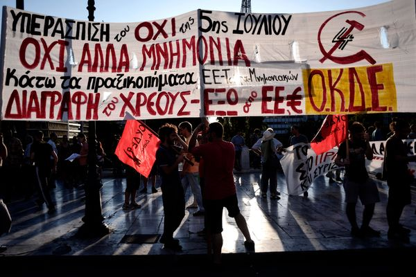 Anti-austerity demonstrators gather in front of the Parliament in Athens, Greece, on July 22, 2015.