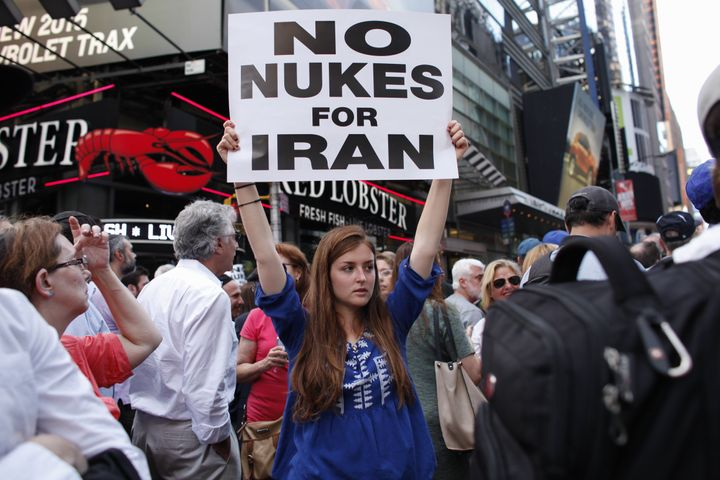 A protester opposed to the nuclear agreement with Iran at the rally in Times Square.