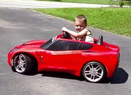 Toddler Does Tiny Adorable 'Donuts' In His Toy Corvette