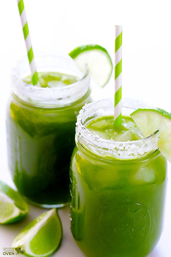 """<strong>Get the <a href=""""http://www.gimmesomeoven.com/easy-green-margaritas-recipe/"""" target=""""_blank"""">Green Margaritas recipe<"""