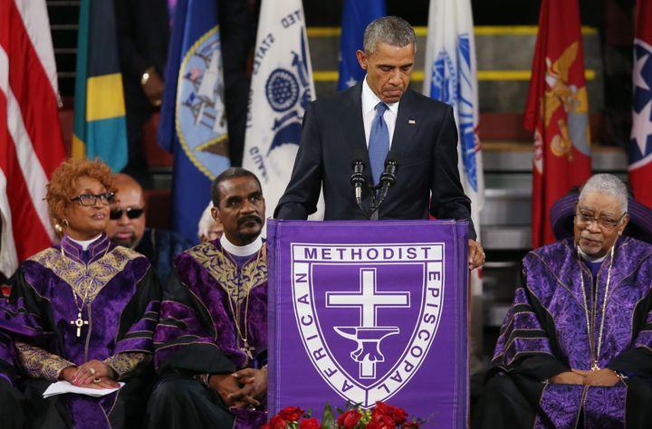 President Barack Obama delivers the eulogy for South Carolina state senator and Rev. Clementa Pinckney, one of nine people ki