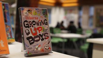 LONDON, ENGLAND - DECEMBER 01:  A book entitled Growing Up for Boys is displayed in the library at a secondary school on December 1, 2014 in London, England. Education funding is expected to be an issue in the general election in 2015.  (Photo by Peter Macdiarmid/Getty Images)