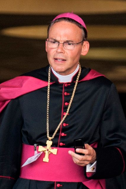 Bishop Franz-Peter Tebartz-van Elst of Limburg, Germany, leaves a meeting of the Synod of Bishops on the new evangelization at the Vatican in this Oct. 19, 2012. Photo by Alessia Giuliani, courtesy of Catholic News Service