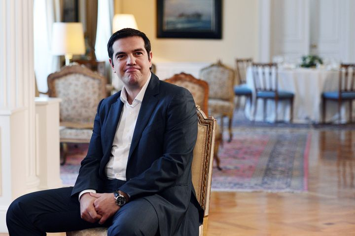 <span>Greece's Prime Minister Alexis Tsipras attends a meeting with Greek President and Greek political parties leaders, ahea