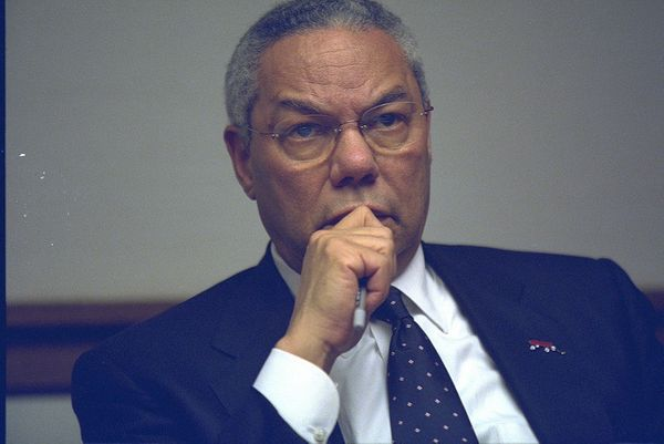 Secretary of State Colin Powell in the President's Emergency Operations Center.