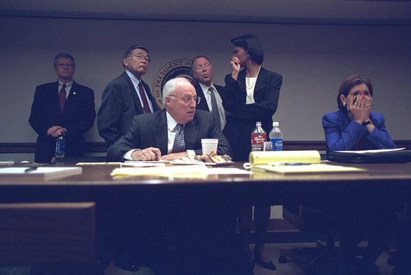 Vice President Dick Cheney with senior staff at the President's Emergency Operations Center.