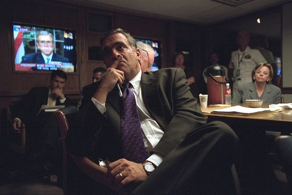 CIA Director George Tenet Listens to President Bush's address in the President's Emergency Operations Center