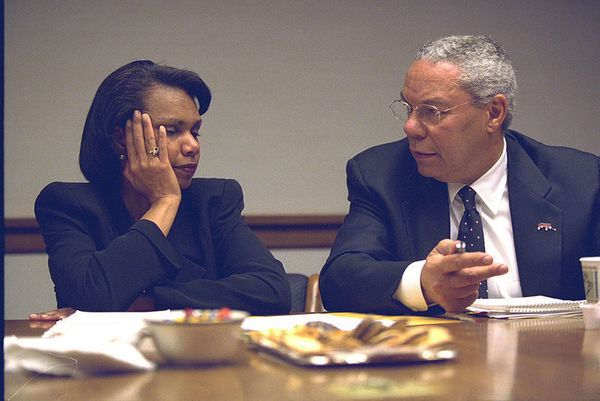 National Security Advisor Condoleezza Rice and Secretary State Colin Powell in the President's Emergency Operations Center.