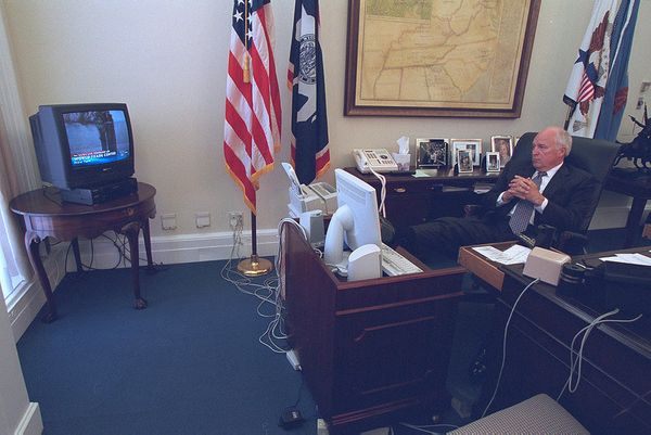 Vice President Dick Cheney watches television.