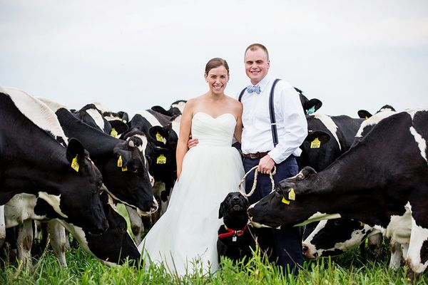 """<span style=""""color: #222222;"""">""""Hillary and Tyler with their dog, Duke, at the family's dairy farm in Washington County, New Y"""