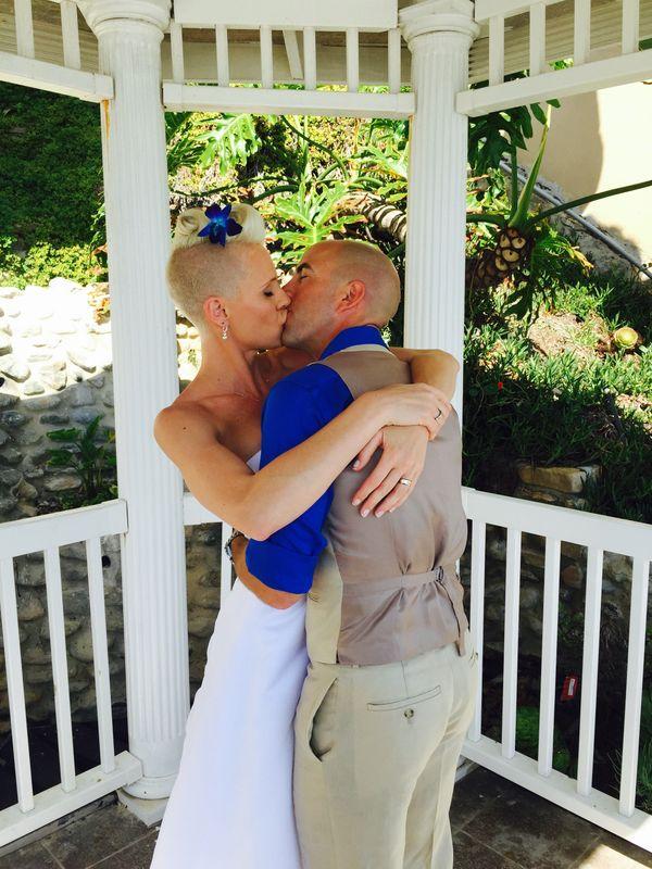 """Rebecca and Alan got married in a private ceremony in Laguna Beach."" -<a href=""http://www.greatofficiants.com/"">weddin"