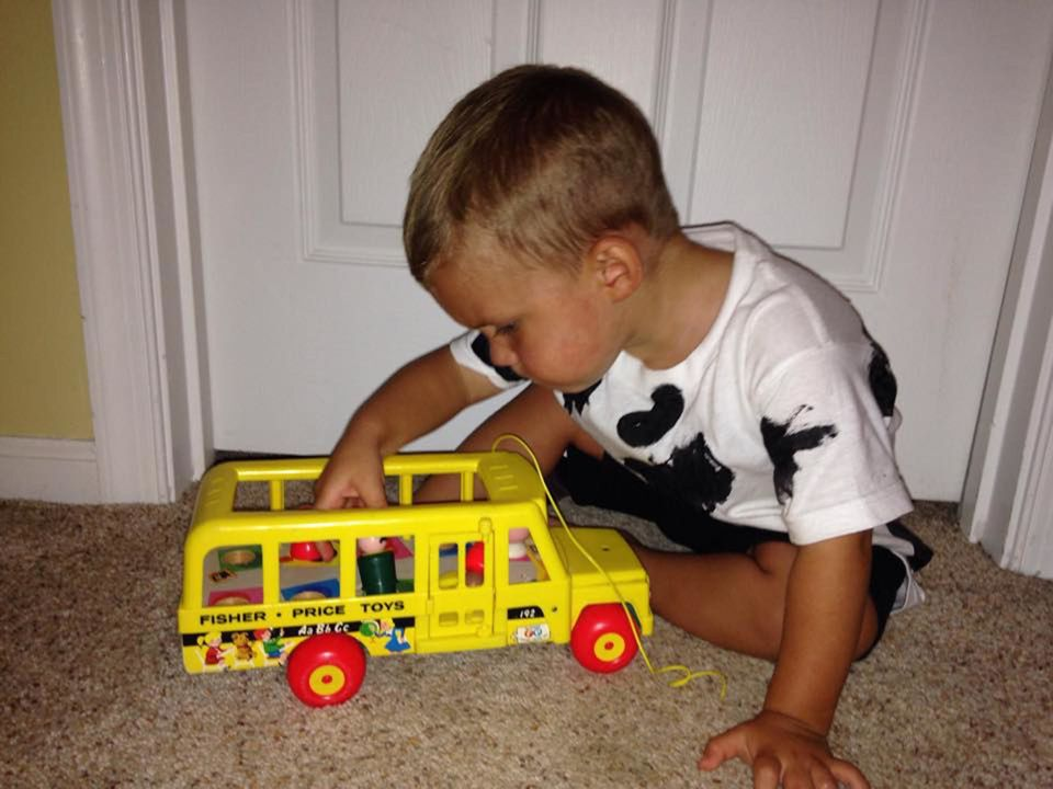 Here's a Fisher Price original Little People Bus. I actually think this was his Grandma's toy!