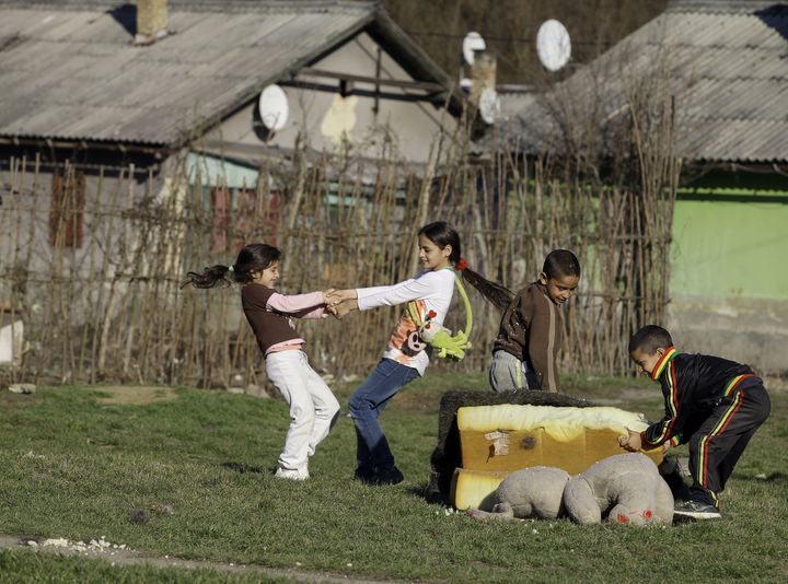 <span>Roma children play in Ozd, northern Hungary on March 14, 2014.</span>